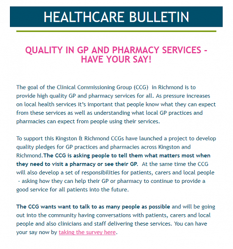 Local GP and Pharmacy consultation